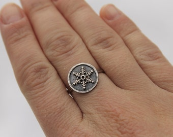 Oxidized Sterling Silver Round Snowflake Ring Choose Your Size