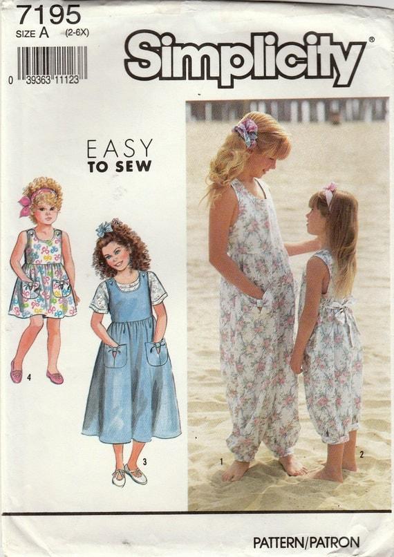 Patrones de costura simplicidad 7195, Top de Jersey niñas, mono ...