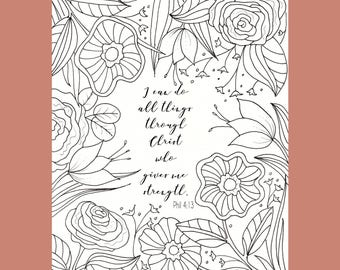 Philippians 4:13 Coloring Page, Bible Verse Coloring Page, Christian Coloring Page, Scripture Coloring Page,