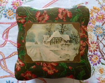 Antique Victorian Celluloid Collar Vanity Dresser Box With Poppies and Winter Scene