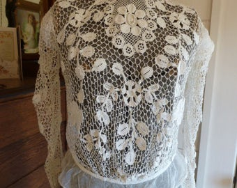 Antique Edwardian Victorian Irish Crochet Lace High-neck Blouse