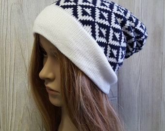 knit slouchy beanie, navy and white, triange pattern, geometric hat, knit hat, knit toque, slouchy toque, modern hat, womens beanie