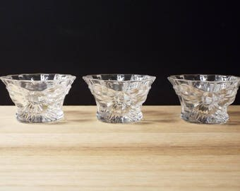 Cristal d' Arques , France Crystal, J G Durand Glass, Candy Dish , Candle Holder , Set of 3 , Wedding Decor