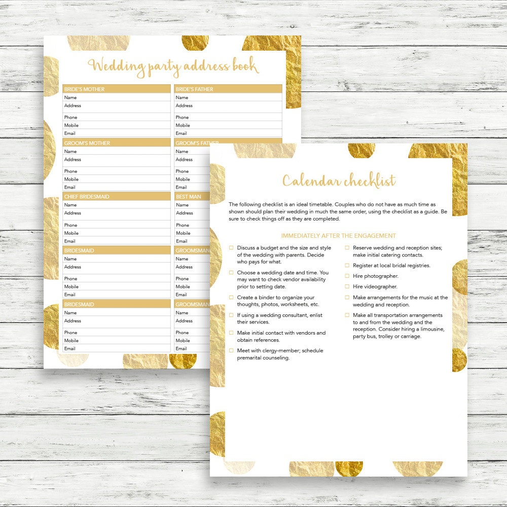 Gold wedding planner DIY wedding binder Gold wedding binder – Wedding Planner Worksheets