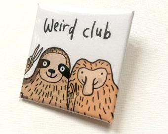 Weird club Sloth and Proboscis Monkey square badge