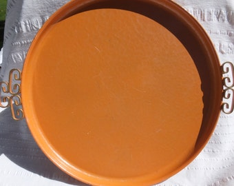 Vintage Orange Kyes Moire Round Tray- Rare Color, Gold Scrolling