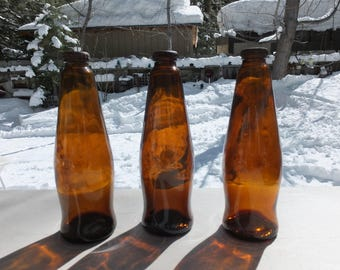 3 Michelob Beer Bottles with Original Rusty Bottle Caps Attached