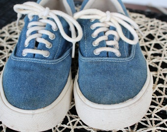 90's Vintage Denim Thick Soled Sneakers- Size 8 US