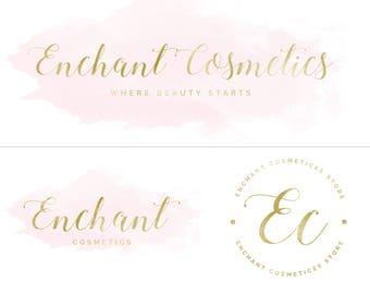 Logo Gold Pink Watercolor Branding Kit Premade Photography Blogger Etsy Shop Logo Boho Feminine