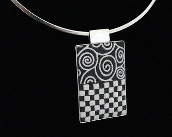 Sterling Silver and Porcelain Art Nouveau Black and White Pendant