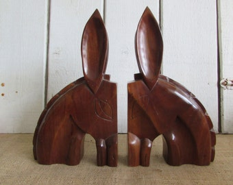 Solid Wood Donkey Bookends, Vintage Donkey Bookends, Carved Wood Donkey Bookends, Old Bookends, Donkey Bookends, Wood Bookends, Bookends