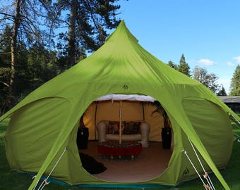 16ft Lotus Belle Outback Deluxe Tent, GREEN, yurt, burning man, glamping festival tent