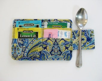 Blue Handmade Tea Wallet, Tea Carrier, Fabric Tea Wallet