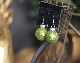 GREEN SPARKLY Christmas Ornament Earrings