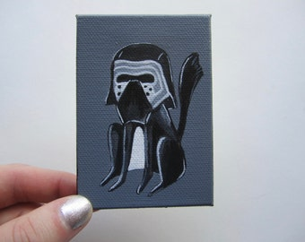 "Black Cat Kylo Ren Acrylic Painting, 2.3x3.3"" Star Wars Cat Art, Kylo Ren Cat Painting by Amber Maki"
