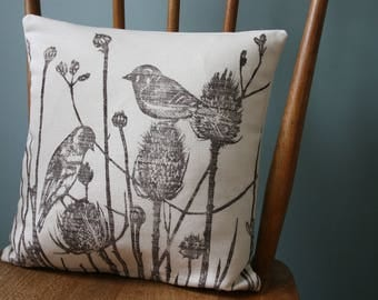 "Birds Print, Hand Printed Linen cushion cover 40 cm x 40 cm, 16"" x 16"", Throw pillow cover with zip, Linen woven in Uk"