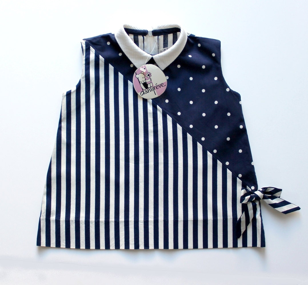 a4e0b1d970 FRENCH VINTAGE 60 s   kids   summer dress   polka dots and striped cotton    navy