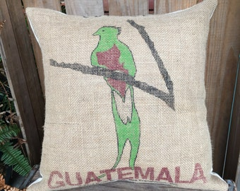 Recycled Coffee Bag Pillow, Guatemala