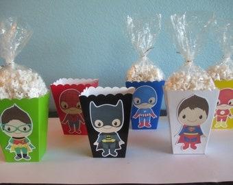 Superhero Popcorn Boxes(10)Superhero Birthday,Superhero baby,Superhero favor boxes,Superhero party,Supergirl birthday,Superboy popcorn boxes