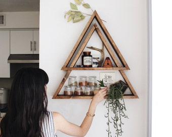 The Original Stacked Triangle Shelf. Geometric Shelf. Modern Shelf. Bohemian Shelf. Triangle Shelf. Triangle shelves. Dual shelves.
