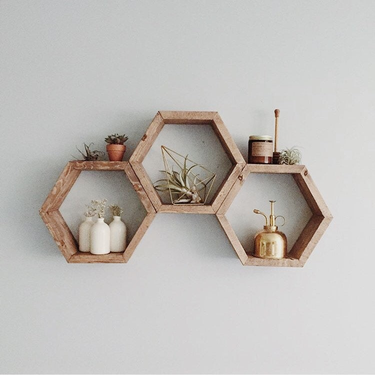 Honeycomb Shelf Geometric Shelf Modern Shelf Hipster