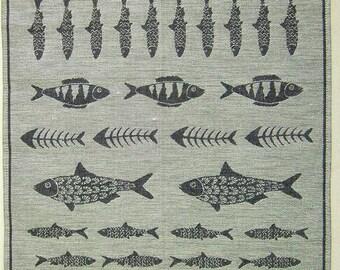 "Woven Linen/Cotton Fabric ""Fresh Fish"" about 45x70 cm tea towel"