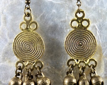 African Lost Wax brass earrings with Lucky Chinese Tiger bells