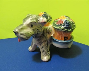 Rare Vintage Ceramic Dogs Puppies Puppy Baskets Salt & Pepper Shakers Animal Japan #934