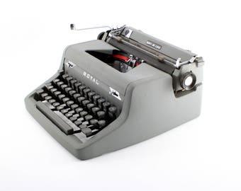 Royal Quiet De Luxe Manual Typewriter -Reconditioned, Working Typewriter - Gray on Gray Royal Quiet De Luxe Typewriter - Excellent Condition