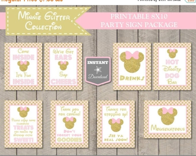 SALE INSTANT DOWNLOAD Pink & Gold Glitter Mouse 8x10 Printable Party Sign Package/ Glitter Mouse Collection / Item #2001