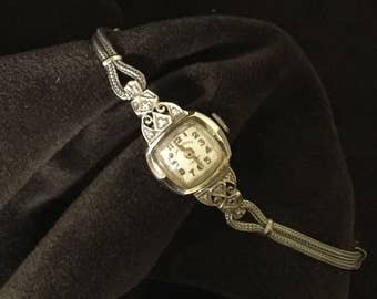 White Rolled Gold  Diamond LADY RHODES Womans Wrist Watch