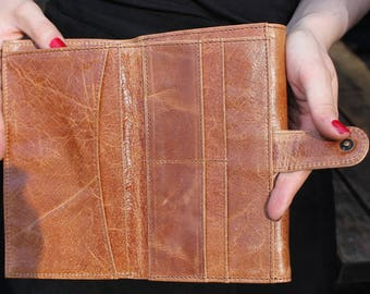 Travel Wallet in Tan Leather