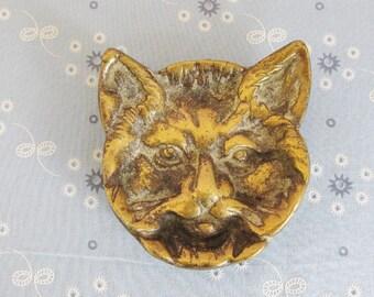 Vintage Cat Face Brass Trinket Tray, Ash Tray, Cat Tray, Cat Ash Tray, Cat Collector
