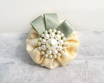 Rustic fabric flower brooch made of fabric, textile brooch with 50 he years flower pearls pin, lapel pin