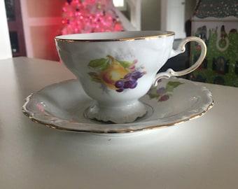 Johann Haviland Bavaria Germany tea cup and saucer fruit