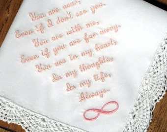 REMEMBERING a LOVED ONE Handkerchief, Infinity Design, Words of Sympathy, Name & Date Option, White or Ivory, Gift Box, Shell Edge 12x12