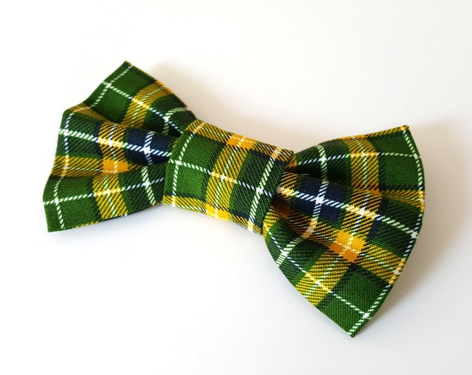 Dog Bow Tie - Green and Yellow Plaid Check