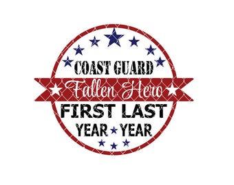 Coast Guard fallen Hero Commercial Use svg dxf ai Eps File for Cricut & Silhouette machines VV0015-E