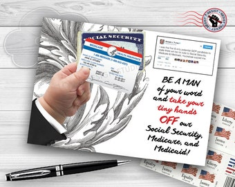 Postcards from the Resistance - Trump Get Your Tiny Hands Off Our Social Security, Medicare, and Medicaid!