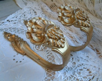 Pair antique french large gilded bronze curtain tie backs. Set of 2. Louis XV shell motif. French chateau. Vintage curtain holds.