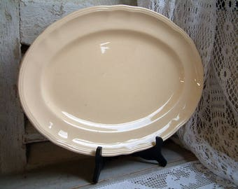 Antique french large creamware ironstone oval platter. Pale yellow platter. French creamware. Jeanne d'Arc living. Nordic living. Gustavian