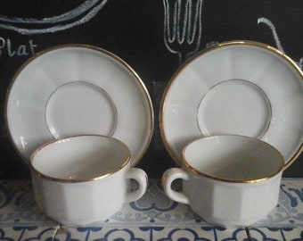 French Vintage 2 Apilco cups...French Bistro...Apilco porcelain...Coffee Cups..French Café...White Porcelain with golden rim..Christmas gift