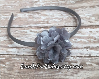 Silver Satin and Tulle Flower Headband, Girls Basic Flower Headband, Grey Flower Hair Accessory, Gray Satin Wrapped Hard Headband, Hair Bow