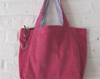 Handmade Reycled Hot Pink Corduroy Bag