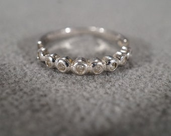 Vintage Sterling Silver and White Topaz Band Ring, Size 9.25    KW14
