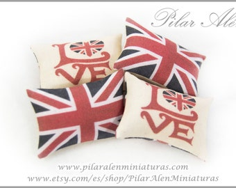 Pillow for dollhouse, 12th scale pillows. One Inch. Love London. Industrial pillow. British Flag.