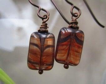 Simple Little Beautiful Stripe Window Glass Czech Earrings # 2 Cool Rectangle Pressed Glass Earrings Hypoallergenic Niobium French Hooks
