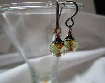 Faceted Crystal 1 Inch Green Touch Czech Glass Earrings Sparkly Feminine and Simple Hypoallergenic Niobium Ear Wires Pretty Organic Earrings
