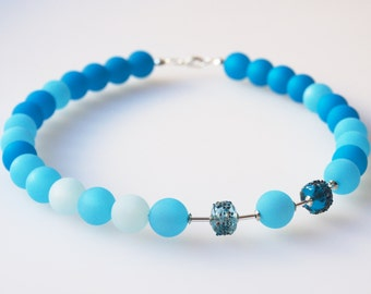 turquoise necklace with handmade glass pearls polaris necklace blue