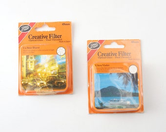 Boots Creative Filters 49mm UV Ultra Violet and 49mm 8x Star Burst Filters - Boxed with Keepers - Made in Japan